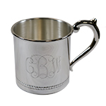 Personalized Baby Cup with a Traditional Monogram, Handle Right