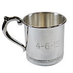 Personalized Baby Cup with a Traditional Engraving, Handle Left