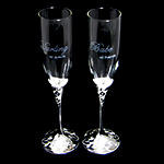 Engraved Toasting Flutes with darling my always, babe my forever
