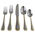Personalized flatware with a Traditional Initial, Handle Down