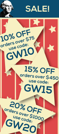 George Washingtons Birthday Sale. 10, 15, and 20 percent off site wide!