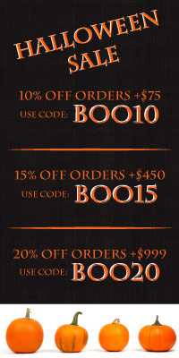 Halloween Sale. 10, 15, and 20 percent off site wide!