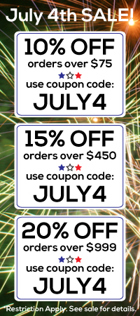 4th of July Sale. 10, 15, and 20 percent off site wide!