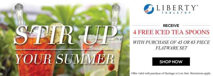 Free Iced Tea Spoon promotion - with purchase of 45 or 65 piece set of Heritage or Lux Flatware