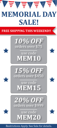Memorial Day Sale. 10, 15, and 20 percent off site wide!