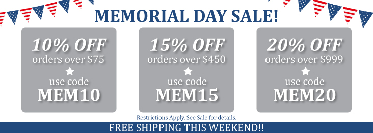 Memorial Day Sale and coupon codes for discounts up to 20% off!