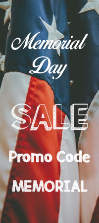 Memorial Day Sale. 10, 15, 20 percent off site wide! Use code MEMORIAL