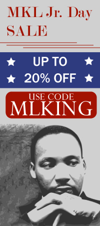 Martin Luther King Sale. 10, 15, 20 percent off site wide! Use code MLKING