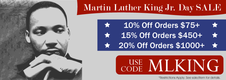 Martin Luther King Sale coupon code for discount of 10, 15, and 20% off site wide! Use code M L KING