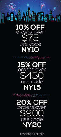 New Year Sale. 10, 15, and 20 percent off site wide!