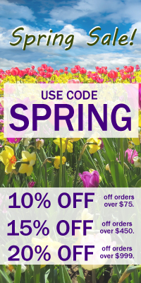 Spring Sale. 10, 15, 20 percent off site wide! Use code SPRING