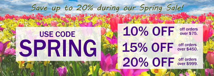 Spring Sale coupon code for discount of 10, 15, and 20% off site wide! Use code SPRING