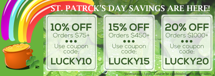 St. Patrick's Day Savings coupon codes for discounts up to 20% off!