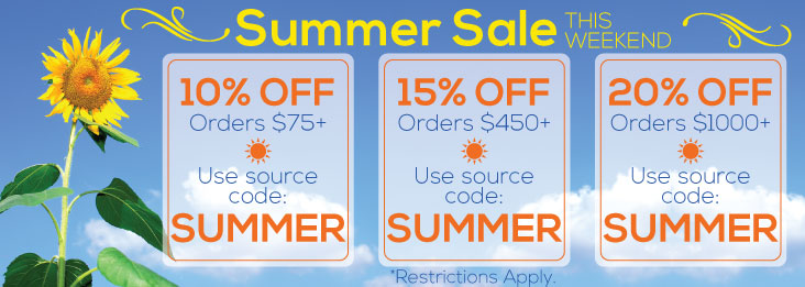 Summer Sale coupon code for discount of 10, 15, and 20% off site wide! Use code SUMMER