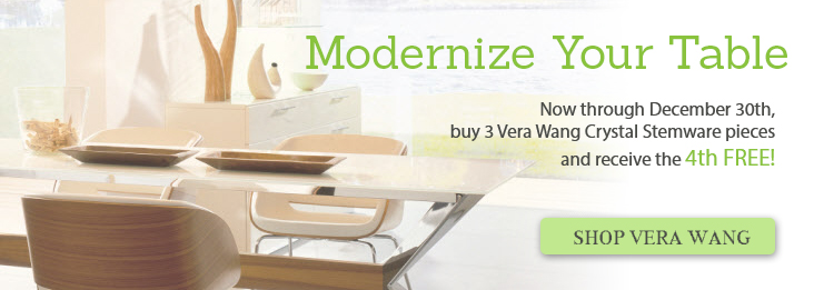 Vera Wang Buy 3 Stemware pieces receive the 4th Free!