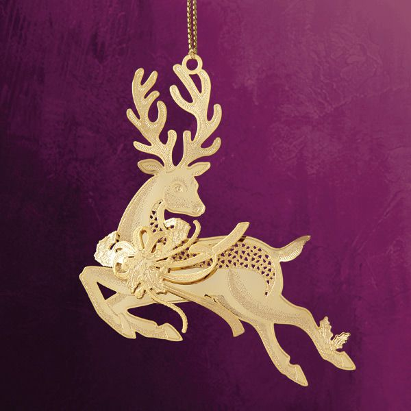 ChemArt Prancing Reindeer Christmas Ornament Larger Image - ChemArt Prancing Reindeer Brass Christmas Ornament