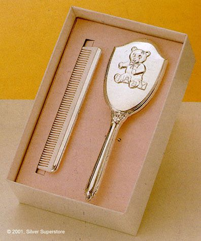 Empire Teddy Bear Design Girls Sterling Silver Brush And