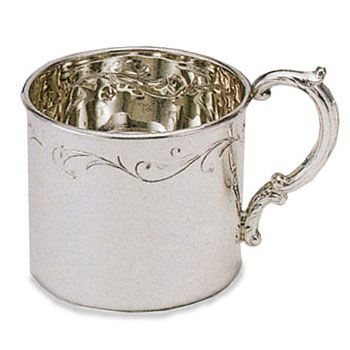 Empire Floral Border Sterling Silver Baby Cup