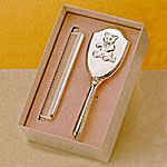Empire Sterling Silver Girls Comb Brush Set Teddy Bear