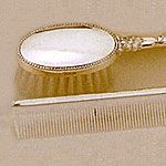 Empire Sterling Silver Girls Comb Brush Set Oval Bead Border