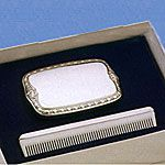 Empire Sterling Silver Boys Comb Brush Set Military