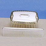 Empire Sterling Silver Boys Comb Brush Set Military with Shield