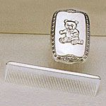 Empire Sterling Silver Boys Comb Brush Set Teddy Bear