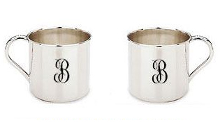 Image of two baby cups with the engraving options for Handle Left or Handle Right.