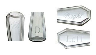 Image of flatware handles with engraving options of Handle Left, Handle Right, Handle Down, or Handle Up.