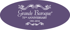 Wallace Grande Baroque 75th Anniversary Edition logo on purple background