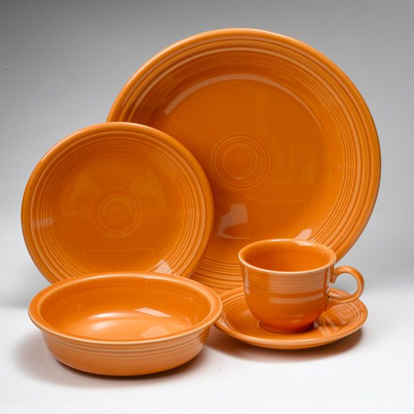 Fiesta Tangerine Dinnerware By Homer Laughlin Silver