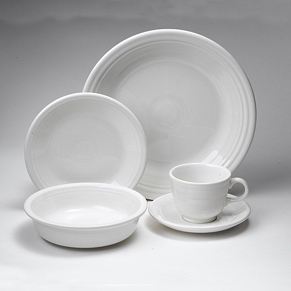 Fiesta White Dinnerware 5 Piece Place Setting Larger Image & Homer Laughlin Fiesta White Dinnerware | Silver Superstore