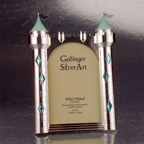 Godinger Silver Plate Castle Picture Frame In Pink Or Blue