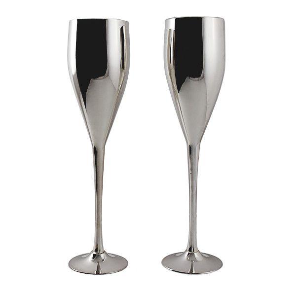 Silver Champagne Flutes By Godinger