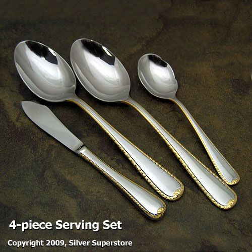 Gorham Golden Ribbon Edge Stainless Flatware At Discount