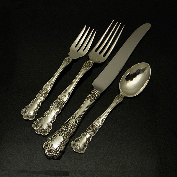 4pc White Paisley By Gorham Sterling Silver Regular Size Place Setting s