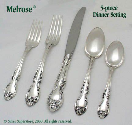 gorham melrose sterling silver flatware 5pc dinner set