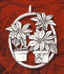 Hand and Hammer Poinsettias Sterling Silver Ornament