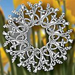 Hand and Hammer Daffodil Wreath Sterling Silver Christmas Ornament