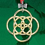 Hand and Hammer Five Golden Rings Sterling Silver Christmas Ornament