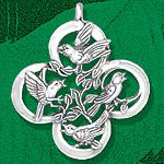 Hand and Hammer Four Calling Birds Sterling Silver Christmas Ornament