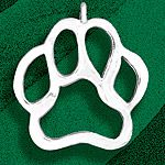 Hand and Hammer Paw Print Sterling Silver Christmas Ornament