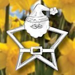 Hand and Hammer Santa Star Sterling Silver Christmas Ornament