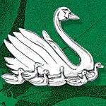 Hand and Hammer Seven Swans a Swimming Sterling Silver Christmas Ornament