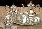 Reed and Barton Burgundy Silverplated Tea Set