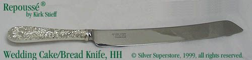 sterling silver wedding cake knife repousse by kirk stieff new sterling silver flatware 20528