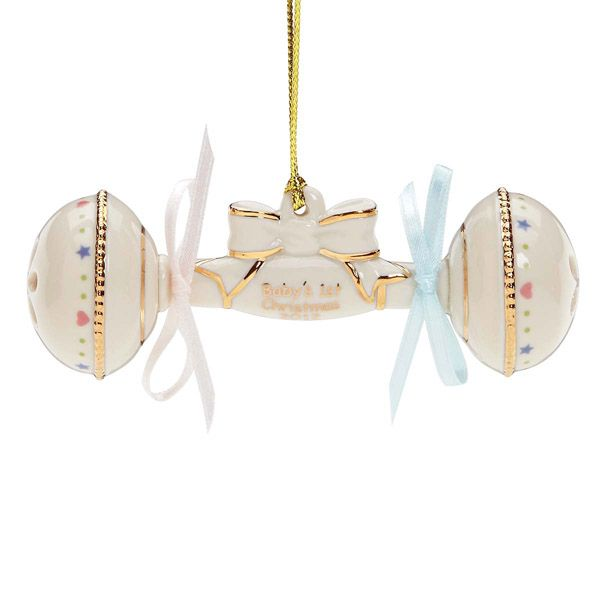 - 2012 Lenox Baby's First Christmas Rattle Porcelain Ornament
