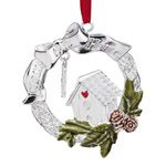 2012 Lenox Bless This Home Silver Christmas Ornament