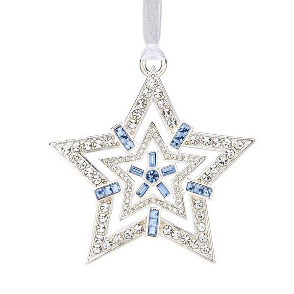 Lunt crystal star silver christmas ornament
