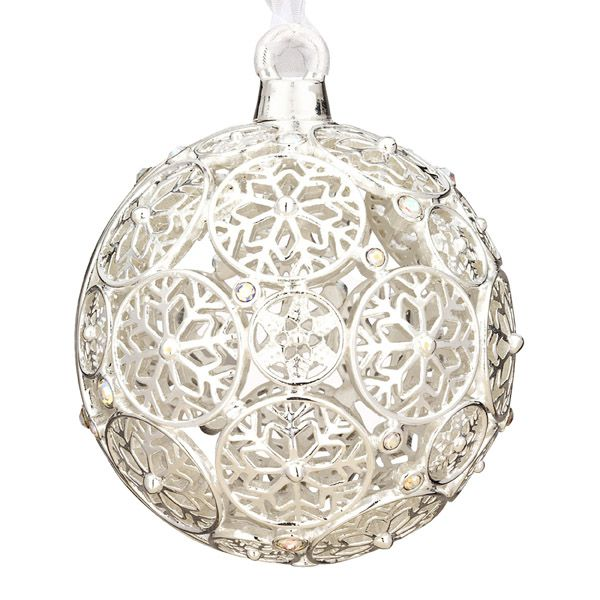 2012 Lunt Jeweled Snowflake Ball Silver Ornament | Silver ...